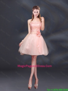 Strapless A Line Hand Made Flowers Pageant Dresses for 2016