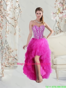 2016 Inexpensive High Low Sweetheart Fuchsia Pageant Dresses with Beading and Ruffles