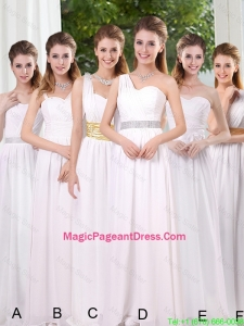 White Ruching Empire Pageant Dresses for 2016