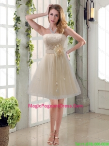 2016 Handmade Flower Strapless Lace Pageant Dress with Mini Length