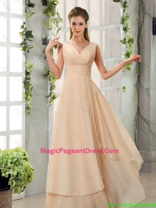 2016 Ruching V Neck Chiffon Pageant Dresses in Champagne