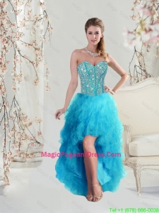 Beautiful Sweetheart Beaded and Ruffles Turquoise 2016 Pageant Dresses High Low