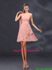 2016 One Shoulder Ruching Chiffon Pageant Dresses in Peach