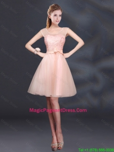 2016 Sturning A Line Belt Pageant Dress with Scoop
