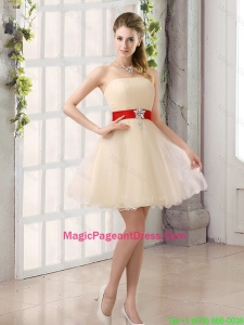 A Line Belt Strapless Pageant Dress with Mini Length