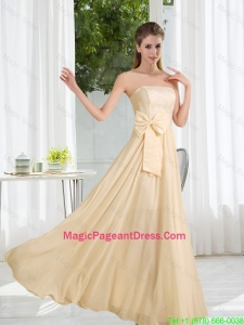 Strapless Empire Bowknot Lace Pageant Dresses for 2016