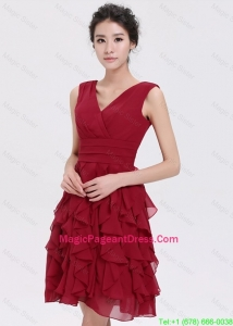 Beautiful V Neck Ruffles Short Pageant Dresses in Burgundy