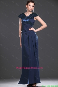 2016 Exquisite V Neck Navy Blue Long PageantDresses with Ruching