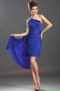 Beautiful Column One Shoulder Blue Perfect Pageant Dresses with Beading