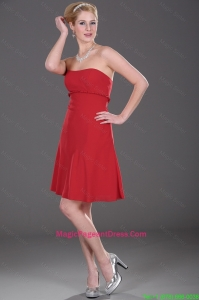 Cheap Mini Length Strapless Red Pageant Dresses with Ruching