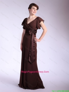 Elegant Belt and Bowknot Brown Pageant Dresses with Brush Train