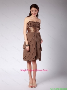 Elegant Ruffles and Belt Short Pageant Dresses in Brown for 2016