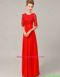 Fashionable Scoop Laced Red Pageant Dresses with Half Sleeves