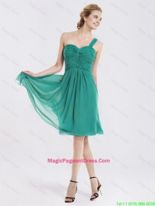 Popular Short One Shoulder Perfect Pageant Dresses with Ruching