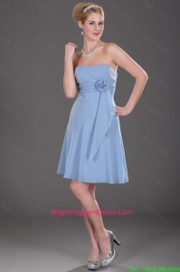Popular Strapless Short Pageant Dresses with Hand Made Flowers