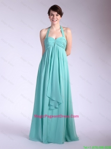 Beautiful Brush Train Turquoise Pageant Dresses with Halter Top