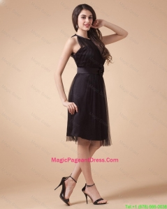 Classical Belt and Hand Made Flowers Short Pageant Dresses in Black