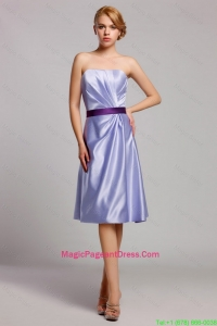 Classical Empire Strapless Short Pageant Dresses with Belt in Lavender