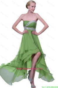 Classical Strapless Beaded Pageant Dresses with High Low