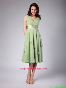 Classical V Neck Empire Hand Made Flowers and Belt Pageant Dresses
