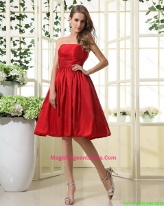 Comfortable Ruching and Pleats Short Pageant Dresses in Red for 2016