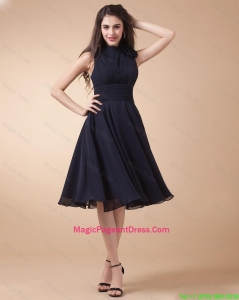 Elegant High Neck Hand Made Flowers Pageant Gowns in Navy Blue