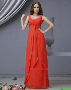 Elegant Scoop Beading Red Pageant Dress in Chiffon for 2016
