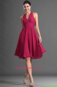 Luxurious Halter Top Wine Red Short Pageant Dress with Ruching