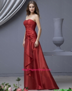 Modern Column Strapless Pageant Dresses with Ruching and Hand Made Flowers