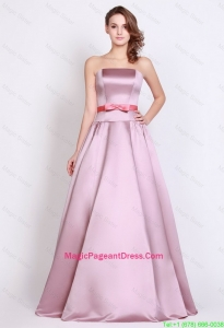 New Style Strapless Brush Train Pageant Dresses with Bowknot