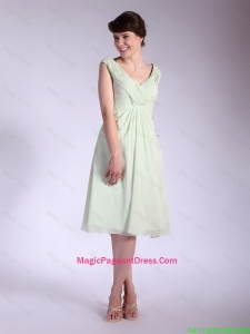 Popular V Neck Ruched Pageant Dresses with Tea Length