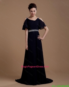 Pretty Empire Straps Pageant Dresses with Brush Train in Navy Blue