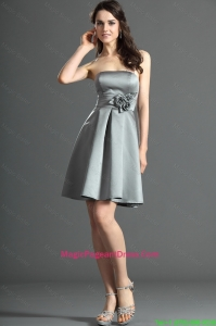 The Super Hot Short Silver Pageant Dress with Hand Made Flowers