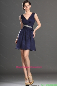 2016 Latest V Neck Short Navy Blue Pageant Dresses with Beading