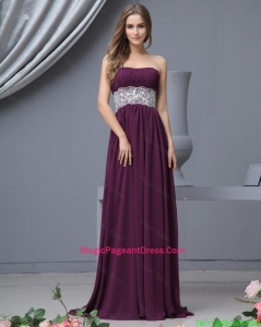 Beautiful Strapless Laced Pageant Dresses with Brush Train
