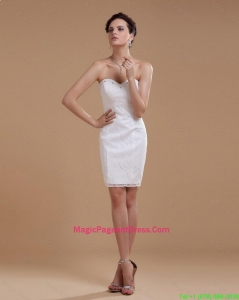 Custom Made Beading Short White Pageant Dresses in Lace