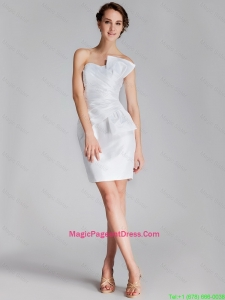 Elegant Column Strapless White Pageant Dresses with Mini Length