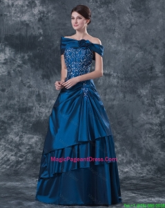 Gorgeous Strapless Navy Blue Pageant Dresses with Brush Train