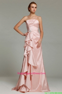 Hot Sale Strapless Beaded Pageant Dresses with Brush Train