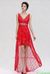 Pretty V Neck Laced and Beaded Red Pageant Dresses with High Low