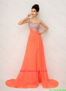 New Arrivals One Shoulder Pageant Dresses with High Slit and Sequins