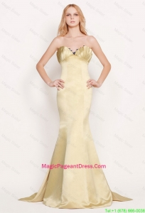 Latest Mermaid Sweetheart Gold Pageant Dress with Brush Train