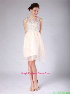 Luxurious Lace Scoop Short Baby Pink Pageant Dress for 2016