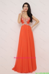 New Arrivals Brush Train Pageant Dress with High Slit and Beading