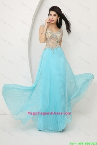 Perfect Beaded Straps Zipper Up Magic Pageant Dress with Cap Sleeves