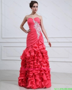 2016 Pretty Appliques and Ruffles Mermaid Pageant Dress