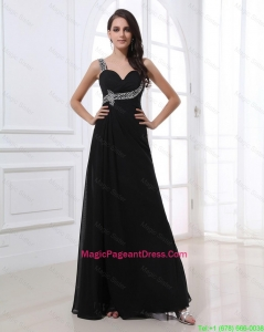 Fashionable Empire Straps Beading Pageant Dresses in Black for 2016