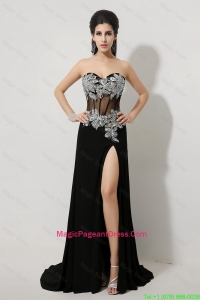 Luxurious Beaded and High Slit Pageant Dress in Black
