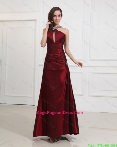 Most Popular Straps Burgundy Pageant Dress with Beading for 2016