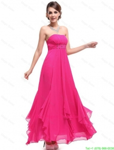 Popular Ankle Length Hot Pink Pageant Dress with Beading